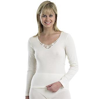 Slenderella Touch of Silk Cream Modal Long Sleeve Cami Top UW833