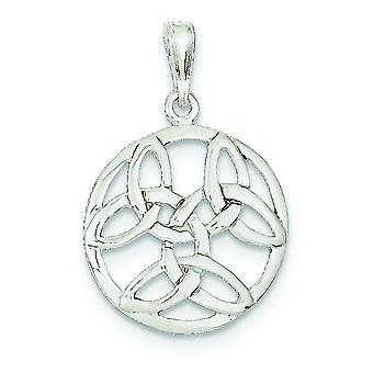 925 Sterling Silver Solid Polished Open back Celtic Knot Pendant - 1.8 Grammes