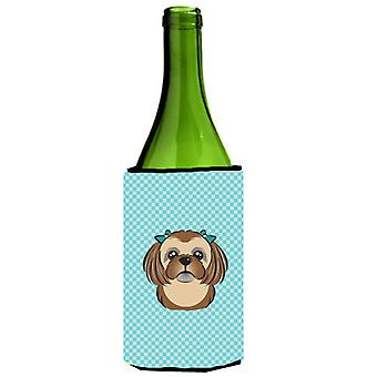 Checkerboard Blue Chocolate Brown Shih Tzu Wine Bottle Beverage Insulator Hugger