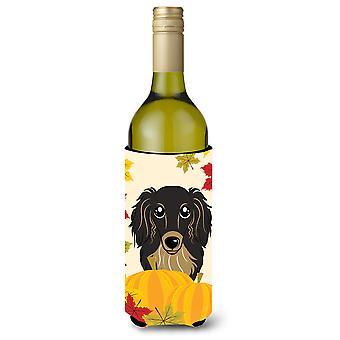 Długowłose czarno -Tan jamnik Dziękczynienia wino butelka napoju izolator przytulić