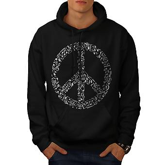 Peace Sign Music Rasta Men BlackHoodie | Wellcoda