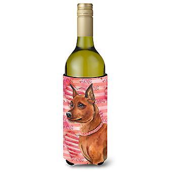 Dwergpinscher liefde wijnfles Beverge isolator Hugger