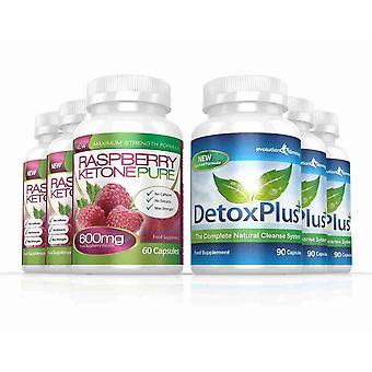 Cétone de framboise Pure 600 mg et DetoxPlus nettoyer Combo Pack - 3 mois d'approvisionnement - brûleur de graisse et Colon Cleanse - Evolution Slimming