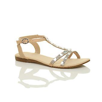 Ajvani Womens flache niedrigem Absatz Schlepplift Diamante Edelsteine Knöchel Riemen Sommer Sandalen Schuhe