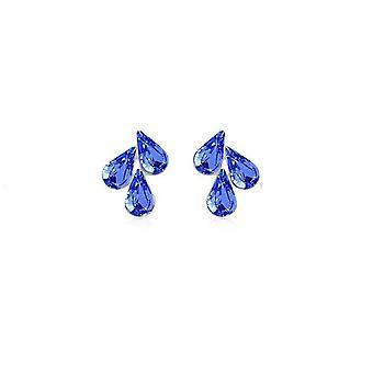 Dark Blue Womens fiore foglia pendente Stud orecchini BG1495