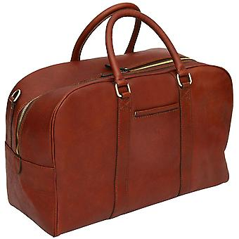 """Genuine Leather 20"""" Travel Holdall Hand Luggage Shoulder Tote Cabin Bag Made In Italy"""