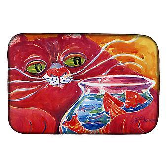 Carolines Treasures  6048DDM Big Red Cat at the fishbowl Dish Drying Mat
