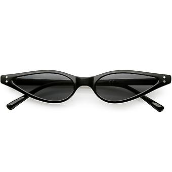 Extreme Thin Cat Eye Sunglasses Neutral Colored Flat Lens 53mm