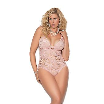 Womens Plus Size All Over Lace Adjustable Eyelash Lace Teddy Romper Lingerie
