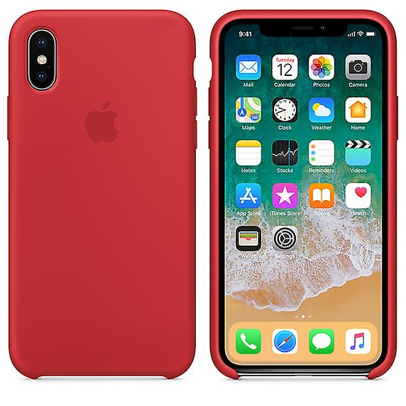 Boxed MQT52 Apple silicone Micro Fiber cover case for iPhone X - Red