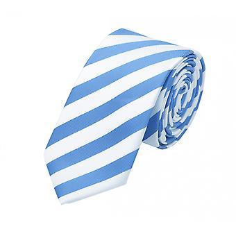Knyta slips tie slips 6cm blå ljus blå Fabio Farini vit randig