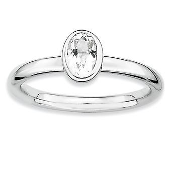 925 Sterling Sølv Bezel Polert Rhodium belagt stables uttrykk Oval Hvit Topas Ring Smykker Gaver til kvinner -