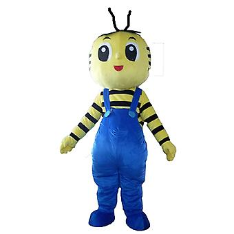 mascot bee yellow and black, with blue overalls SPOTSOUND