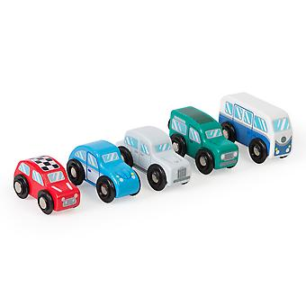 Tidlo Wooden Retro Vehicle Set (Pack of 5) Playset Accessories