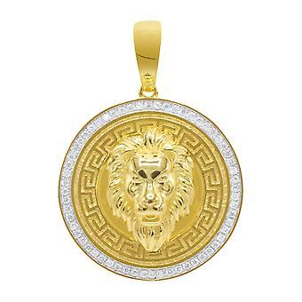 قلادة فضة 925-اليونانية الذهب أسد 3D