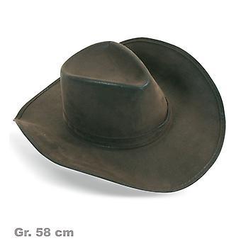 Brown cowboy hat Hat suede look of Wild West