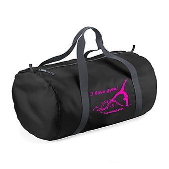 Ultralet sort sportstaske 'Jeg elsker Gym!' med gymnast (pink motiv)