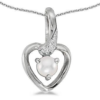 LXR 10k الذهب الأبيض المياه العذبة مثقف اللؤلؤ وقلادة القلب الماس