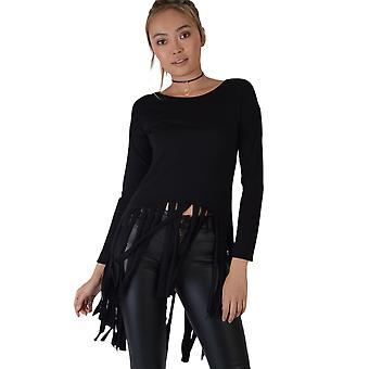 Lovemystyle Black Long Sleeved T-Shirt With Fringing