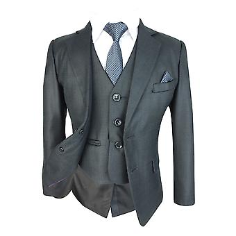 Boys Slim fit Dark Grey Complete Suit Set