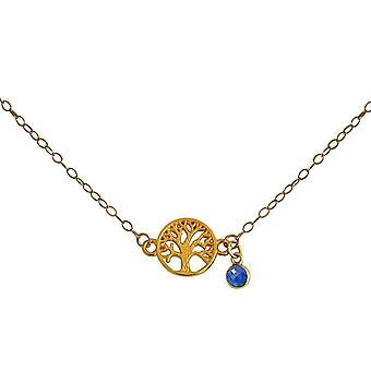 Gemshine YOGA halsband livets träd och blå safir 925 silver, guldpläterad, ros