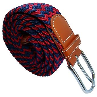 Bassin and Brown Striped Woven Stretch Belt - Wine/Navy