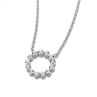 Cavendish French Silver and Cubic Zirconia Circle of Life Necklace