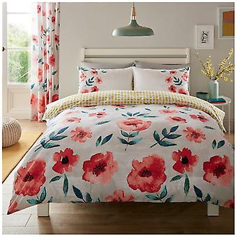 Pheobe Poppy Red Flower Printed Duvet Quilt Cover Modern Reversible Bedding Set