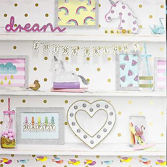 Girls Life Glitter Bookshelf Wallpaper Polka Dot Heart Unicorn Bird Pink White