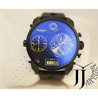 Diesel Xxl Dz7127 Oversize Daddy Dial Multi Time Black Leather Watch