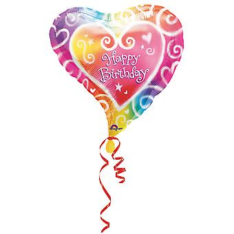 Amscan 18 Inch Heart Shaped Watercolour Rainbow Happy Birthday Foil Balloon