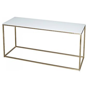 Gillmore Space White Glass And Gold Metal Contemporary TV Stand