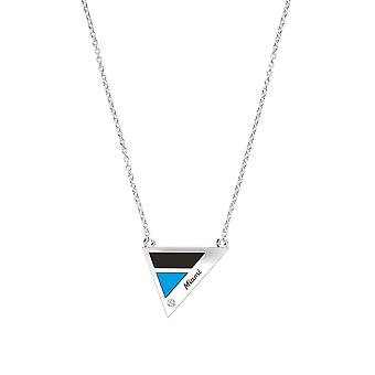 Miami Marlins Engraved Sterling Silver Diamond Geometric Necklace In Black & Sky Blue