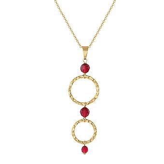 Eeuwige collectie Infinito goud hoepel en rode tegenhanger van het kristal