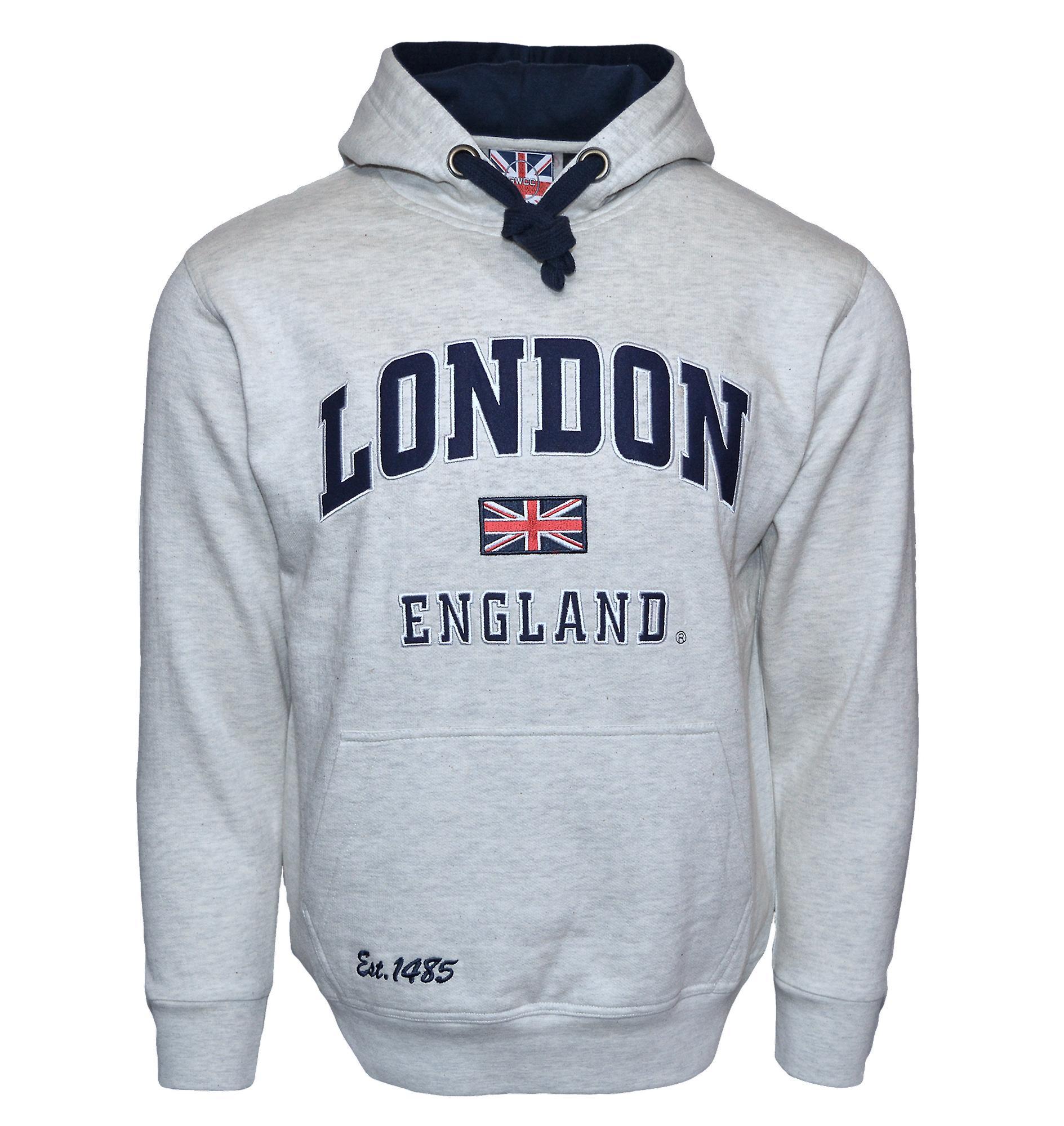 Le129gn unisex london england hoodie hooded sweatshirt grey navy xs-2xl