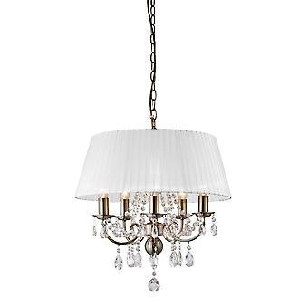 Diyas IL30047 Olivia Pendentif avec ombre blanche 5 Light Antique Brass/Crystal