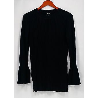 Du Jour suéter crew cuello rib knit w / Mangas de campana negro A295382