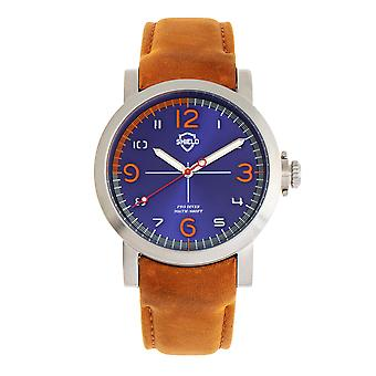 Shield Berge Leather-Band Men's Diver Watch - Silver/Blue