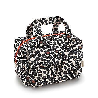 'victoria green' iris carry all wash bag in leopard tan