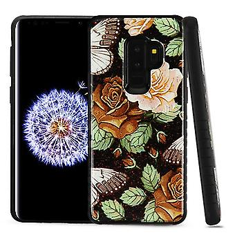 MYBAT Lucky Flowers Gel/Black Glitter Fusion Protector Cover  for Galaxy S9 Plus