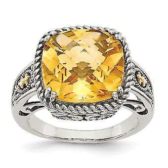 925 Sterling Silver With 14k Citrine Ring Jewelry Gifts for Women - Ring Size: 6 to 8