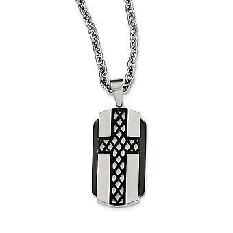 Roestvrij staal geborsteld en gepolijst zwart ip vergulde religieuze geloof cross ketting 24 inch sieraden geschenken voor vrouwen