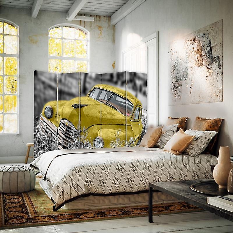 Diviseur de chambre, 5 panneaux, double-sided, toile, voiture jaune dans l'herbe
