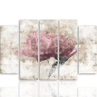 Immagine in cinque parti su tela, Pentaptych, Tipo B, Fiore pastello