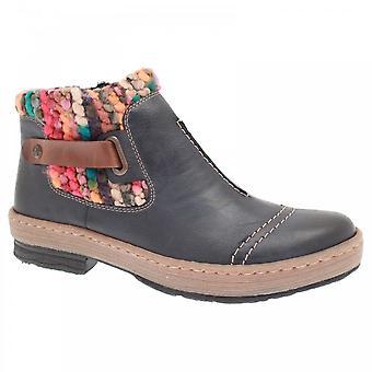 Rieker Navy Slip On Knit Detail Ankle Boot