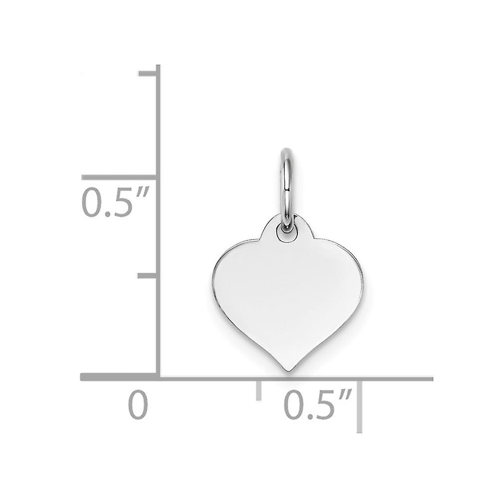 14k White Gold Polished Love Heart Disc Charm Pendant Necklace Jewelry Gifts for Women - .4 Grams