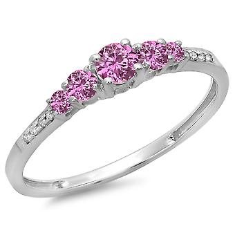 Dazzlingrock Collection 14K Round Cut Pink Sapphire & White Diamond Ladies Bridal 5 Stone Engagement Ring, White Gold