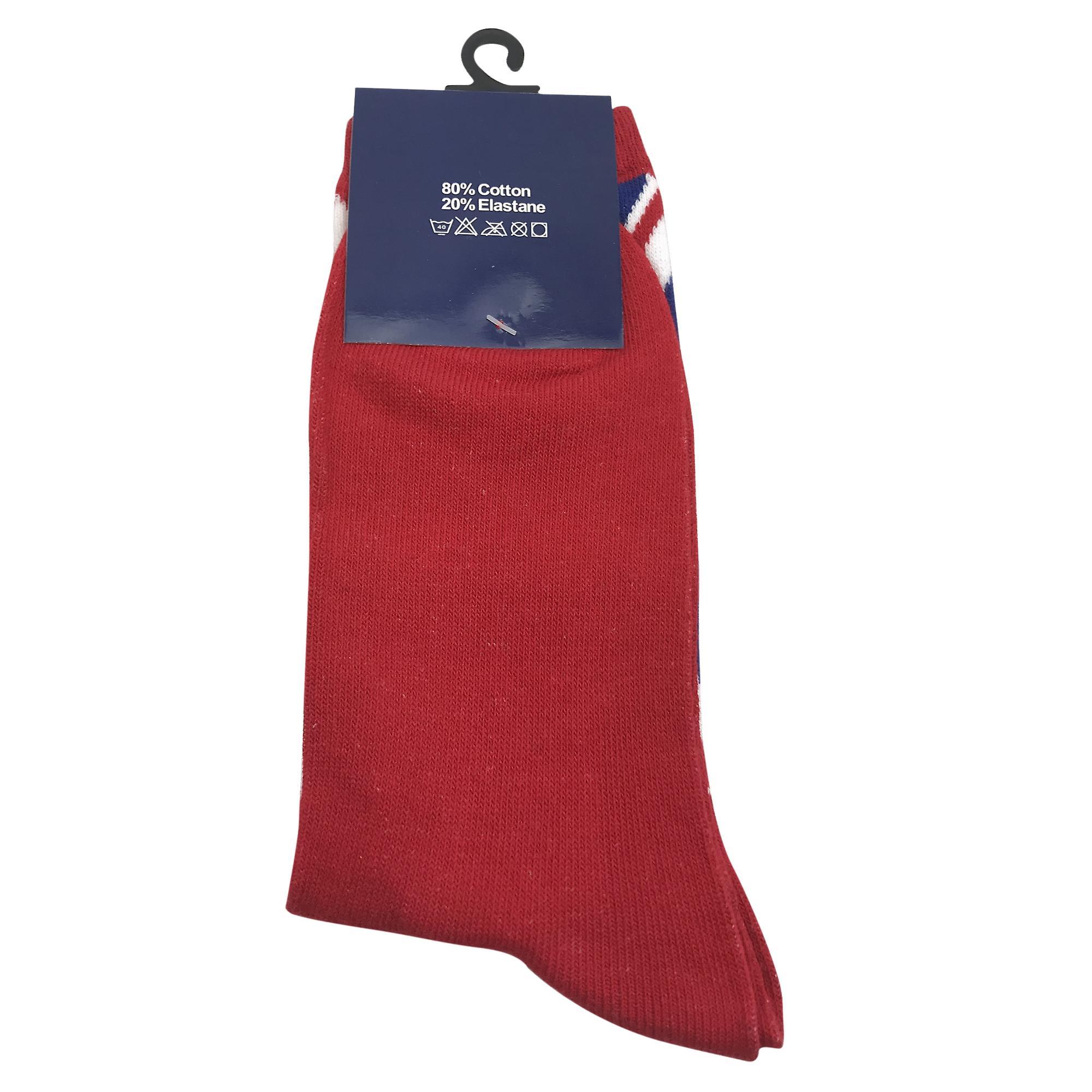 Ladies union jack sock red size 4-7 (uk)