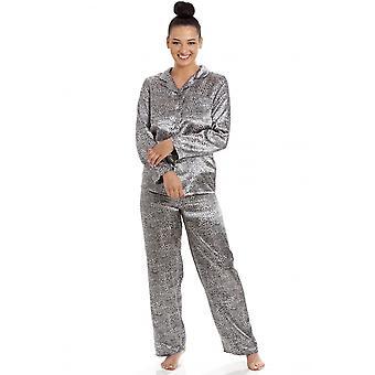 Camille Camille Womens lange mouw satijn Zilveren Luipaard pyjama 's