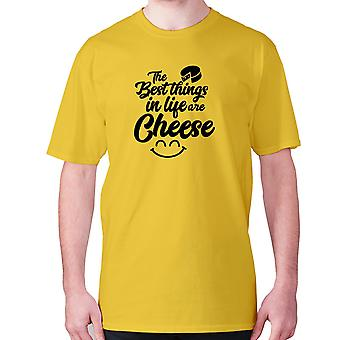 Mens funny foodie t-shirt slogan tee eating hilarious - The best things in life are cheese